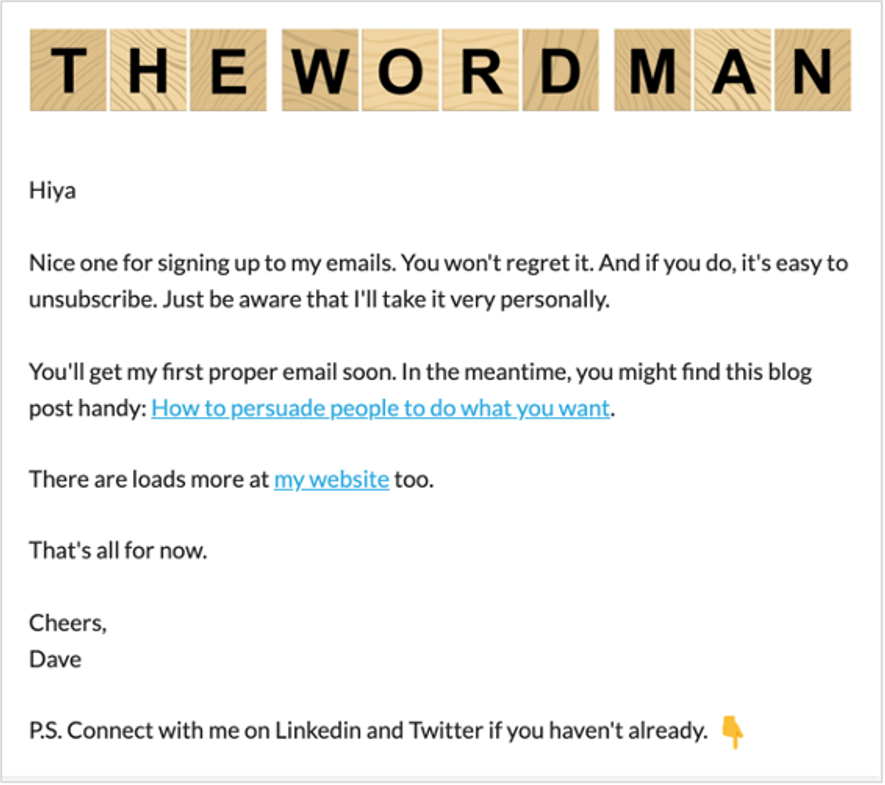 marketing automation welcome email example